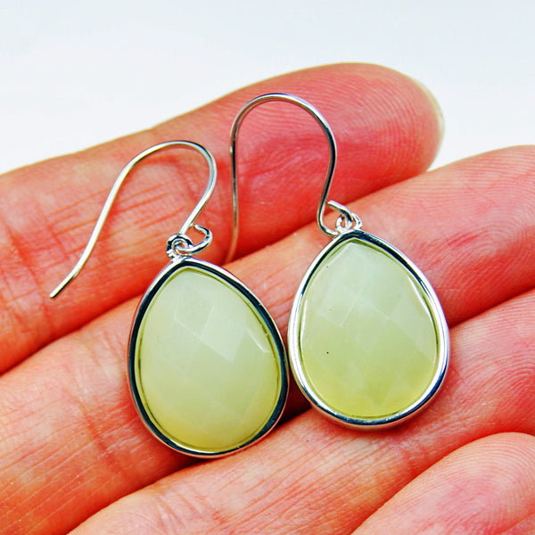 Lime Dyed Jade & Sterling Silver Earrings