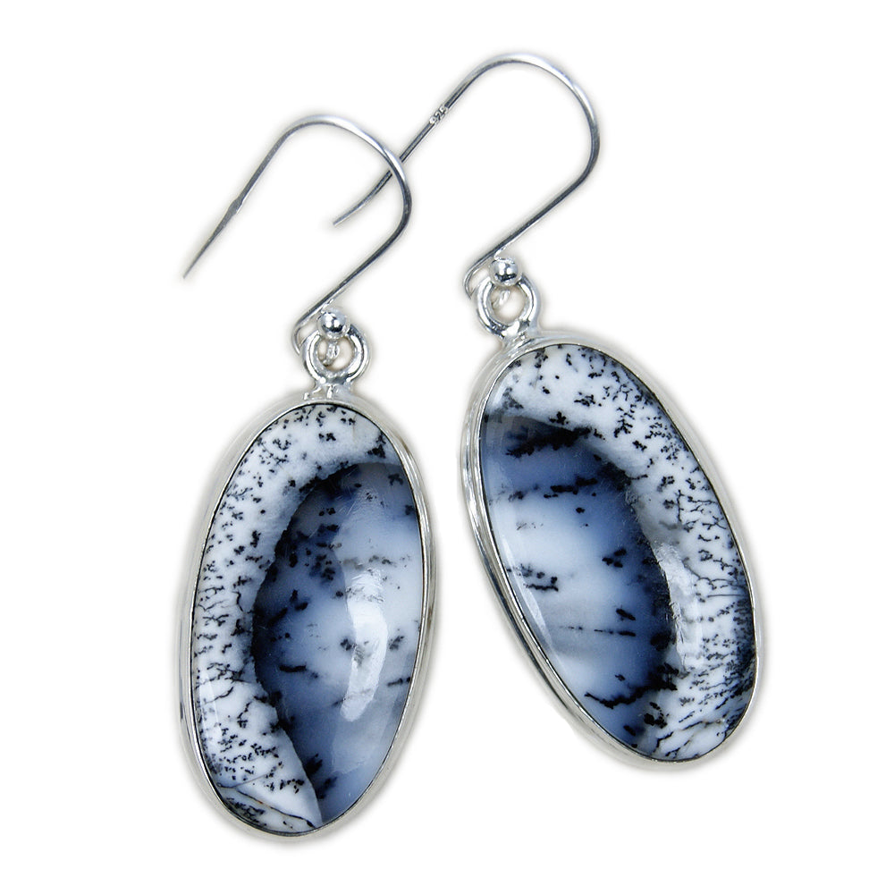 Nightfall' Dendritic Opal & Sterling Silver Earrings