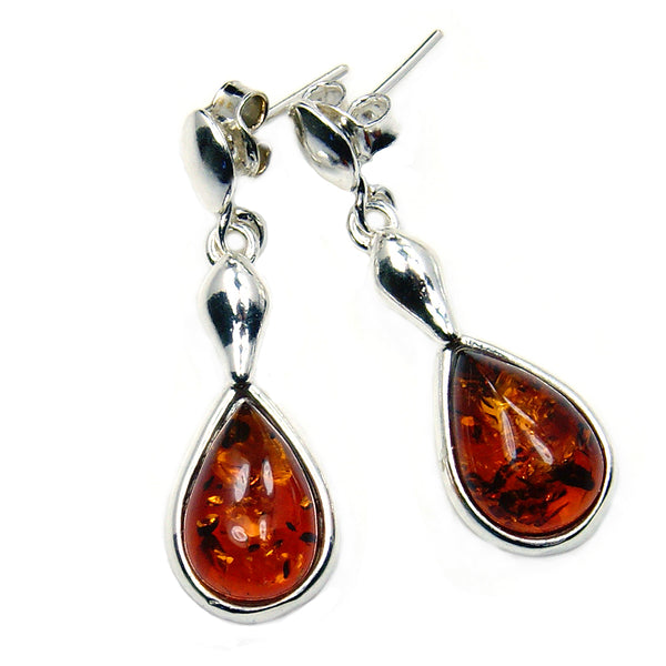 Sterling Silver Natural Honey Baltic Amber Earrings