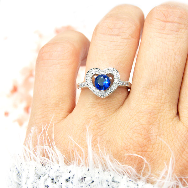 Sterling Silver Blue Cubic Zirconia Heart Ring, Size 5.75 - The Silver Plaza