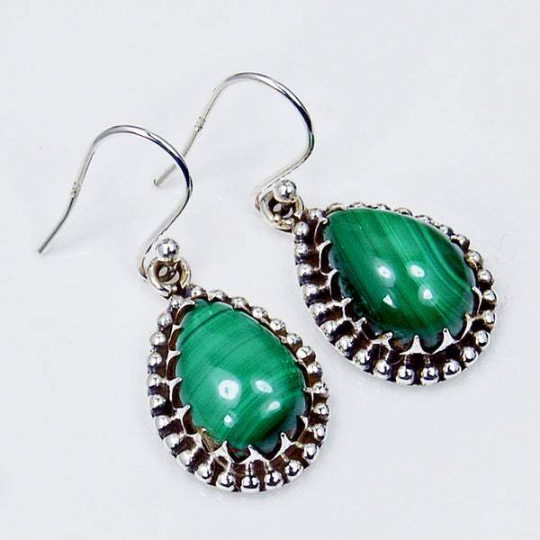 'Forest Princess' Malachite & Sterling Silver Earrings