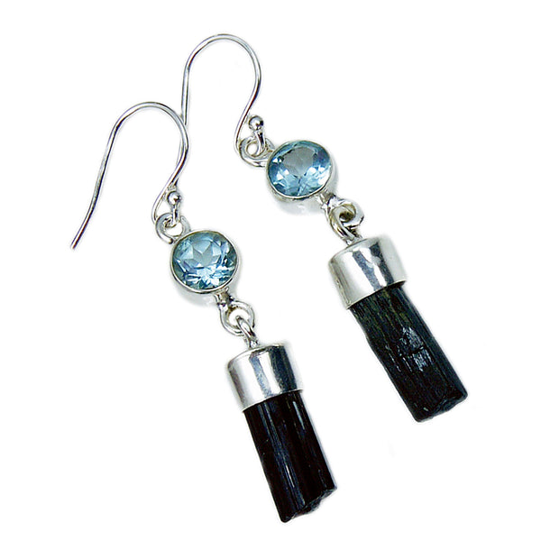 Sterling Silver Tektite, Blue Topaz Dangle Earrings