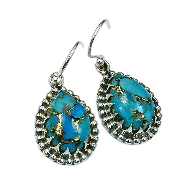 Sterling Silver Blue Copper Turquoise Dangle Earrings