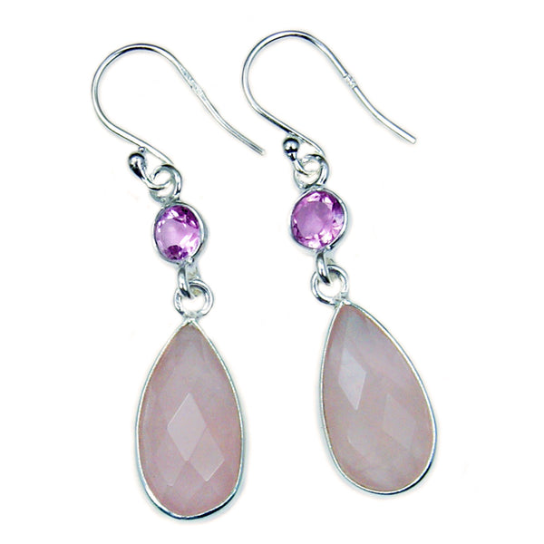 Sterling Silver Rose Quartz, Amethyst Dangle Earrings