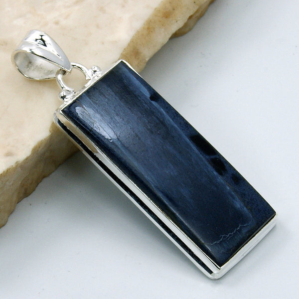 'Midnight Sky' Large Sterling Silver Rare Pietersite Pendant - The Silver Plaza