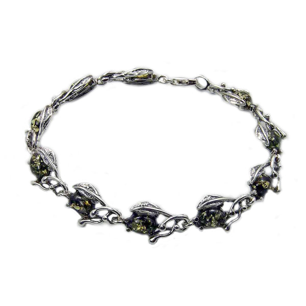 'The Secret Garden' Green Baltic Amber & Sterling Silver Bracelet - The Silver Plaza