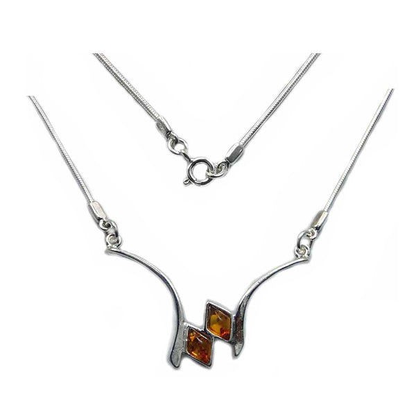 'Sweet Honey' Sterling Silver Natural Honey Baltic Amber Necklace - The Silver Plaza