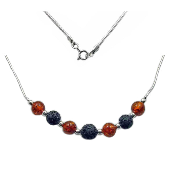 Beaded Baltic Amber, Volcanic Lava & 925 Sterling Silver Necklace 17""