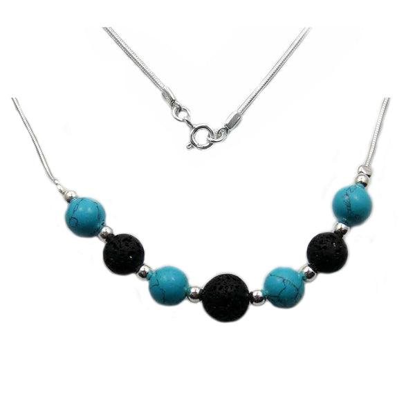 Beaded Turquoise, Volcanic Lava & 925 Sterling Silver Necklace 17""