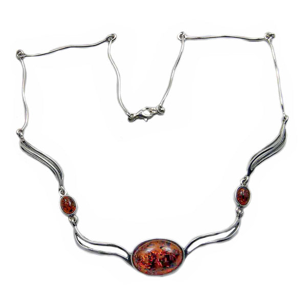 Elegant Sterling Silver Natural Cognac Baltic Amber Necklace
