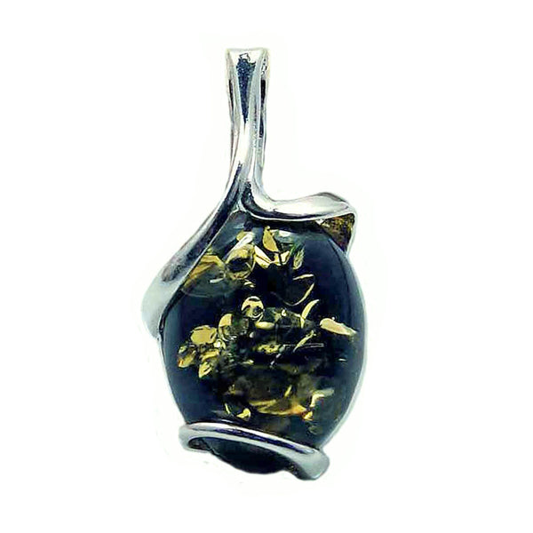 Green Baltic Amber & 925 Sterling Silver Pendant - The Silver Plaza