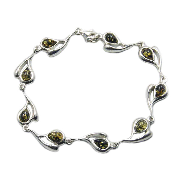 "'Desire of My Heart' Sterling Silver Natural Green Baltic Amber Heart Bracelet, 7.5"" - The Silver Plaza"