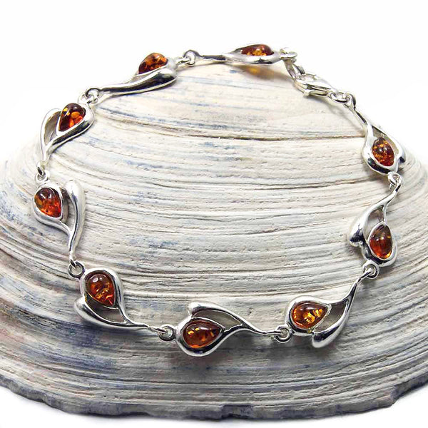 "'Desire of My Heart' Sterling Silver Natural Honey Baltic Amber Heart Bracelet, 7.5"" - The Silver Plaza"