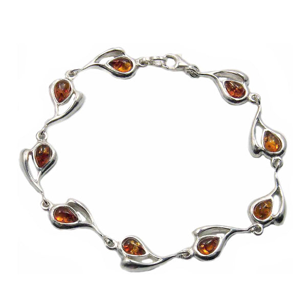 'Desire of My Heart' Sterling Silver Natural Honey Baltic Amber Heart Bracelet, 7.5""
