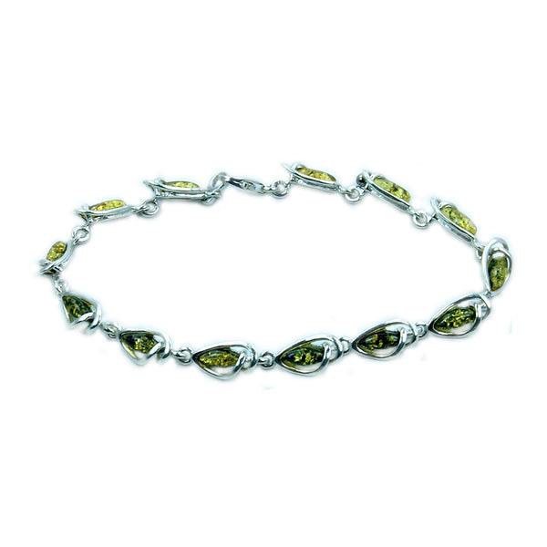'Eye Candy' Green Baltic Amber & Sterling Silver Bracelet - The Silver Plaza