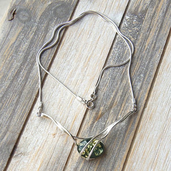 Elegant Sterling Silver Natural Green Baltic Amber Necklace