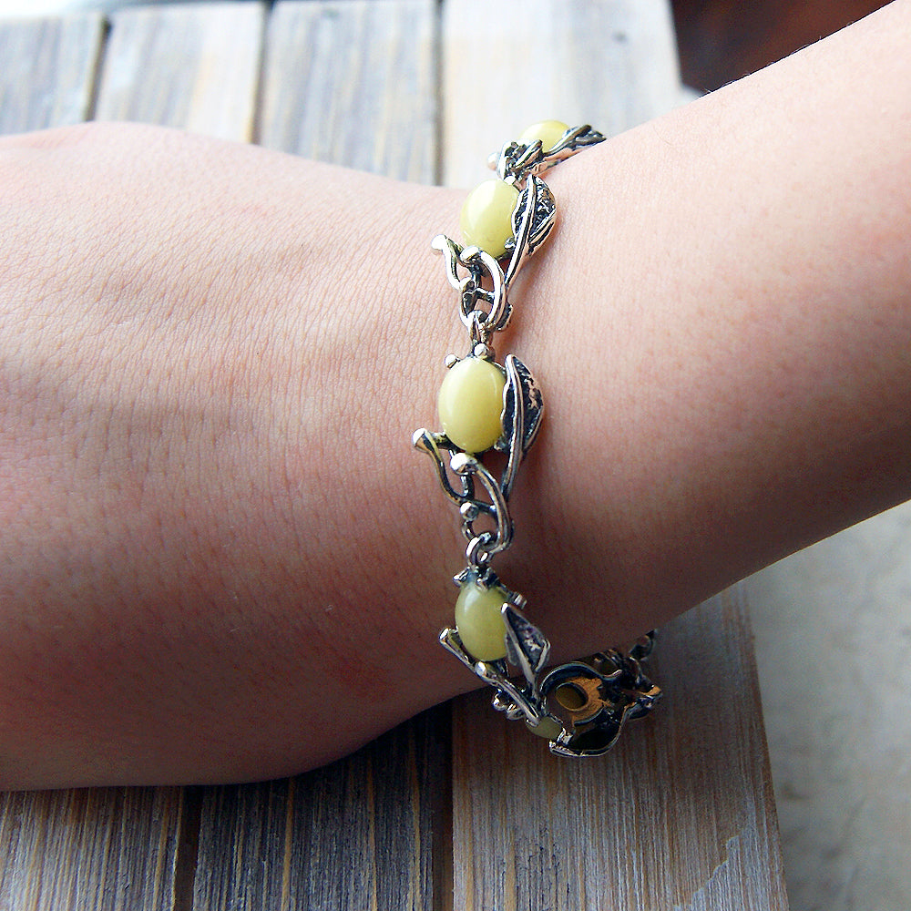 'The Secret Garden' Butterscotch Baltic Amber & Sterling Silver Bracelet - The Silver Plaza