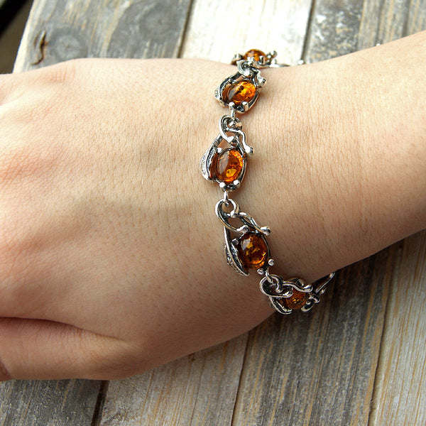 'The Secret Garden' Cognac Amber & Sterling Silver Bracelet - The Silver Plaza