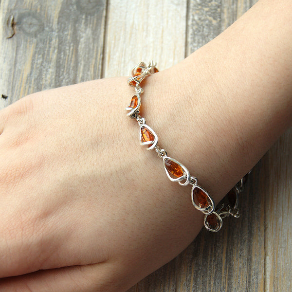 'Eye Candy' Honey Baltic Amber & Sterling Silver Bracelet - The Silver Plaza