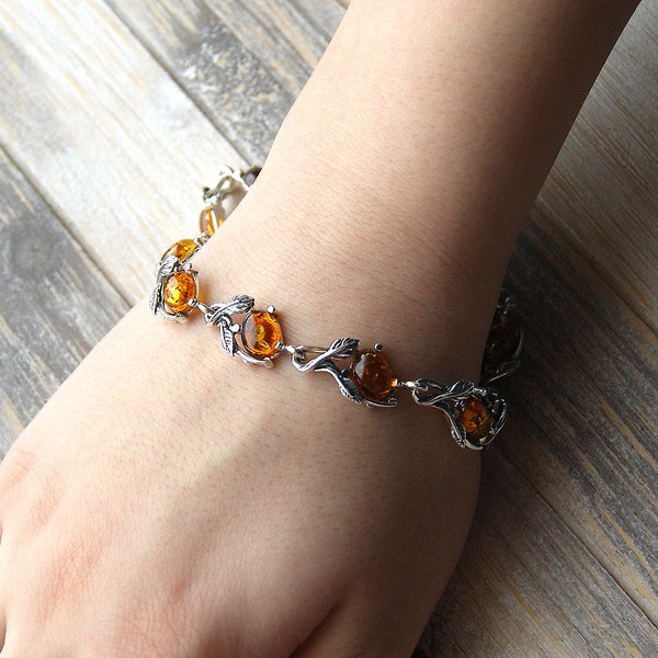 The Secret Garden Cognac Amber & Sterling Silver Bracelet - The Silver Plaza