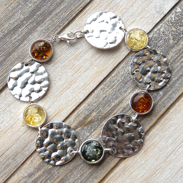 Circle Of Hope Sterling Silver Natural Mixed Amber Bracelet - The Silver Plaza