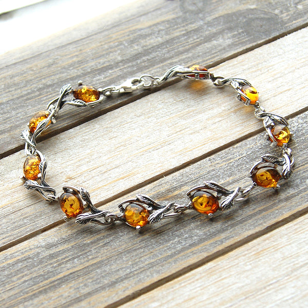 The Secret Garden Cognac Amber & Sterling Silver Bracelet