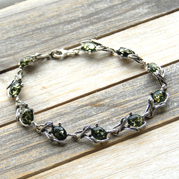 The Secret Garden Green Amber & Sterling Silver Bracelet - The Silver Plaza