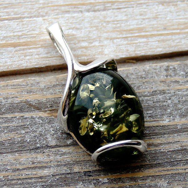 Green Baltic Amber & 925 Sterling Silver Pendant