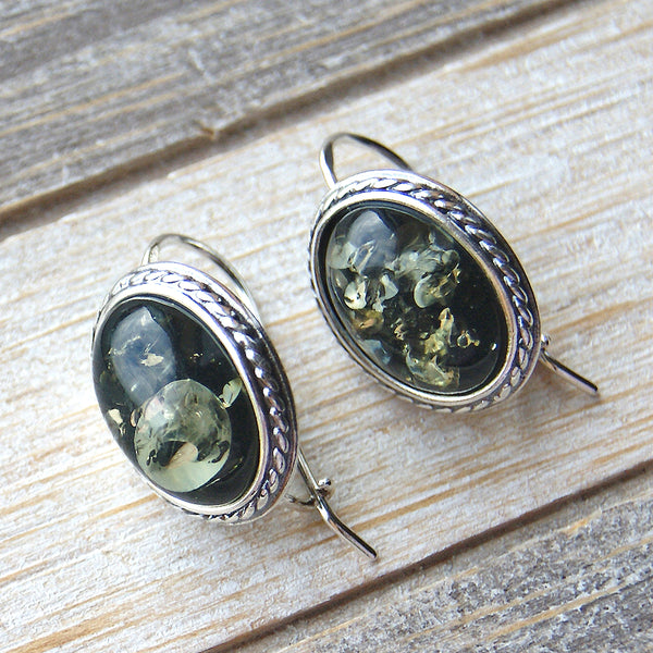 Under the Sea Sterling Silver Green Amber Earrings