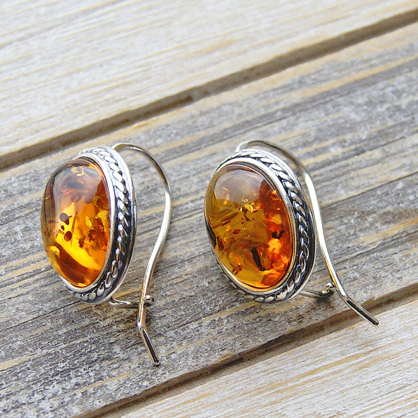 Warm and Smoothing Sterling Silver Baltic Amber Earrings - The Silver Plaza