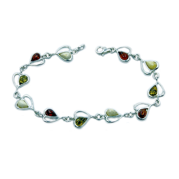 Sweet Princess Sterling Silver Natural Baltic Amber Heart Bracelet - The Silver Plaza