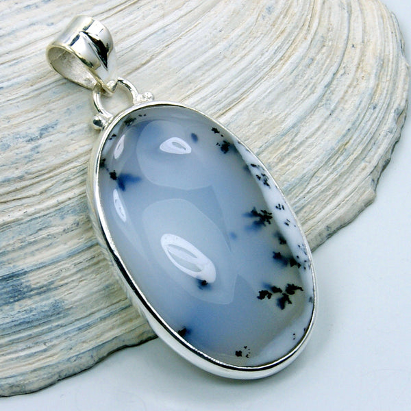 Sterling Silver Rare Dendritic Opal Pendant Opal Necklace - The Silver Plaza