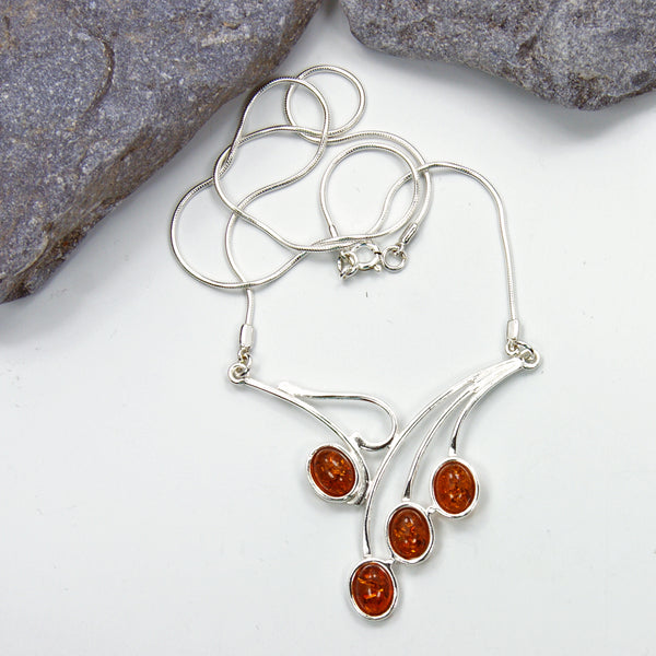 Falling Leaves Sterling Silver Baltic Amber Necklace - The Silver Plaza
