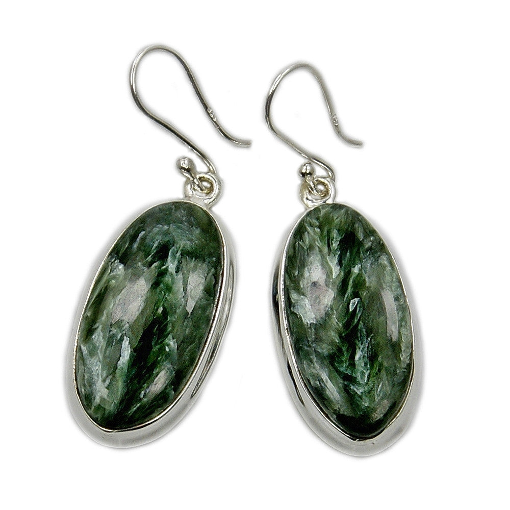 Sterling Silver Green Russian Seraphinite Dangle Earrings - The Silver Plaza