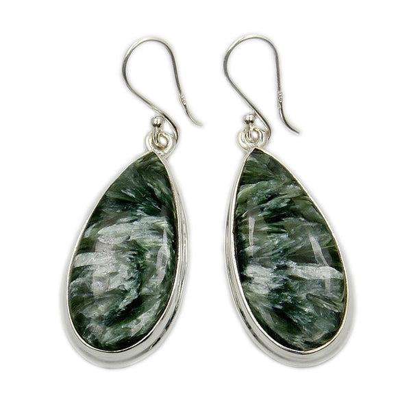 Green Russian Seraphinite Sterling Silver Dangle Earrings