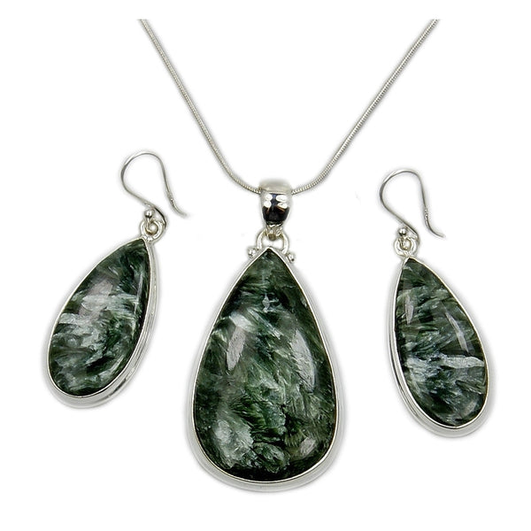 Green Russian Seraphinite & 925 Sterling Silver Pendant and Earrings Set with Snake Chain