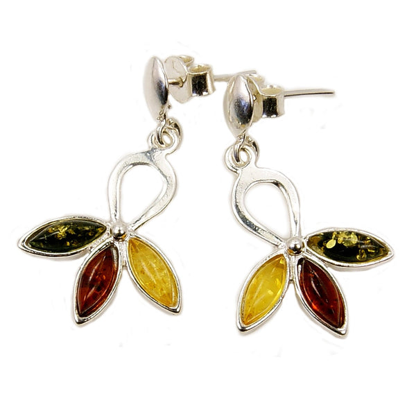 'Autumn Garden' Sterling Silver Natural Green, Honey Baltic Amber Dangle Earrings