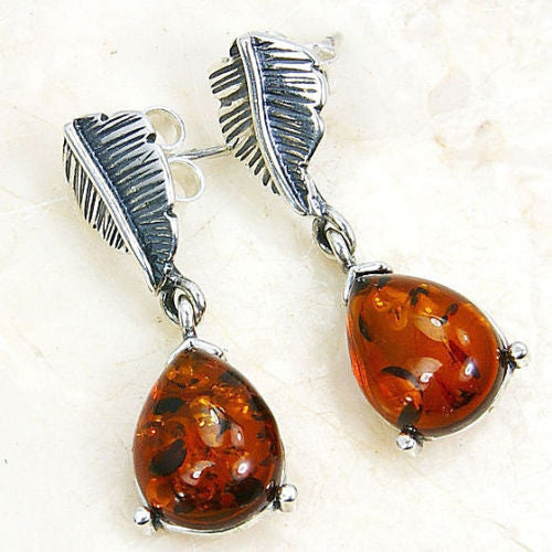 'Tropical Leaf' Sterling Silver Natural Baltic Amber Dangle Earrings - The Silver Plaza