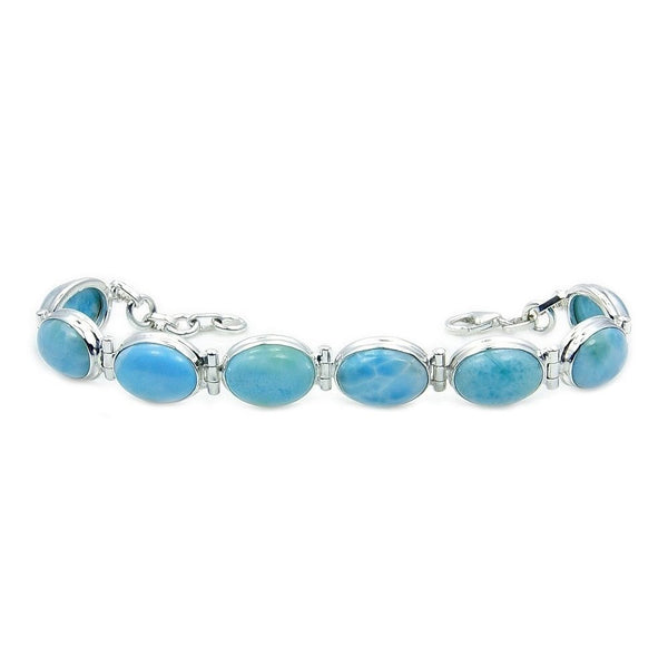 'Blue Paradise' Dominican Larimar & .925 Sterling Silver Bracelet - The Silver Plaza