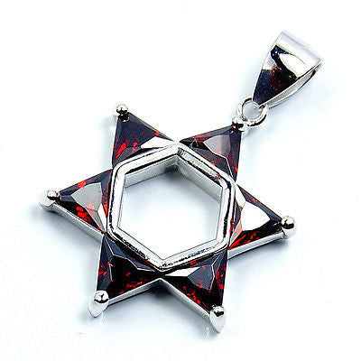 """Jewish Star of David"" Garnet & .925 Sterling Silver Pendant T71 - The Silver Plaza"