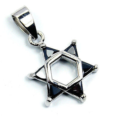 """Jewish Star of David"" Black Onyx & .925 Sterling Silver Pendant T86 - The Silver Plaza"