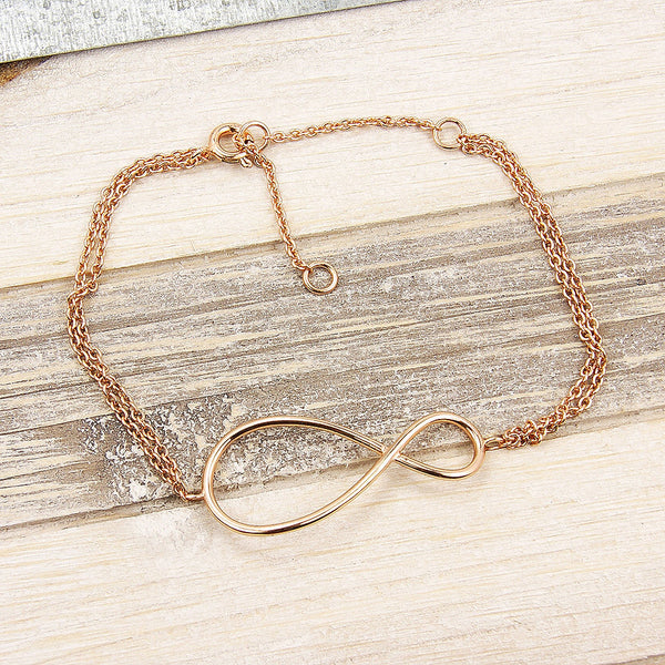 Large Infinity Double Chain Sterling Silver Rose Gold over Sterling Silver Anklet - The Silver Plaza