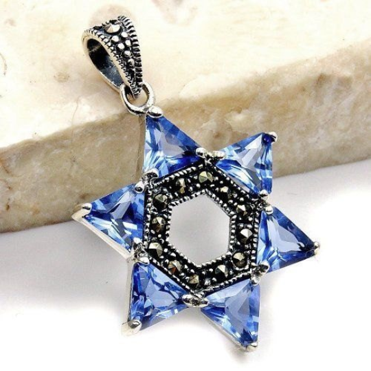 """Jewish Star of David"" Light Blue CZ, Marcasite & .925 Sterling Silver Pendant - The Silver Plaza"