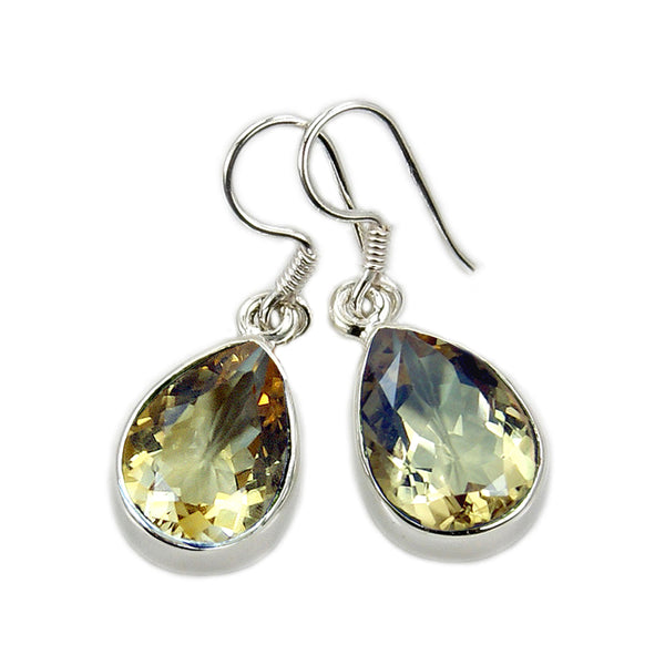 'Sparkling Drops' Citrine & 925 Sterling Silver Dangle Earrings - The Silver Plaza