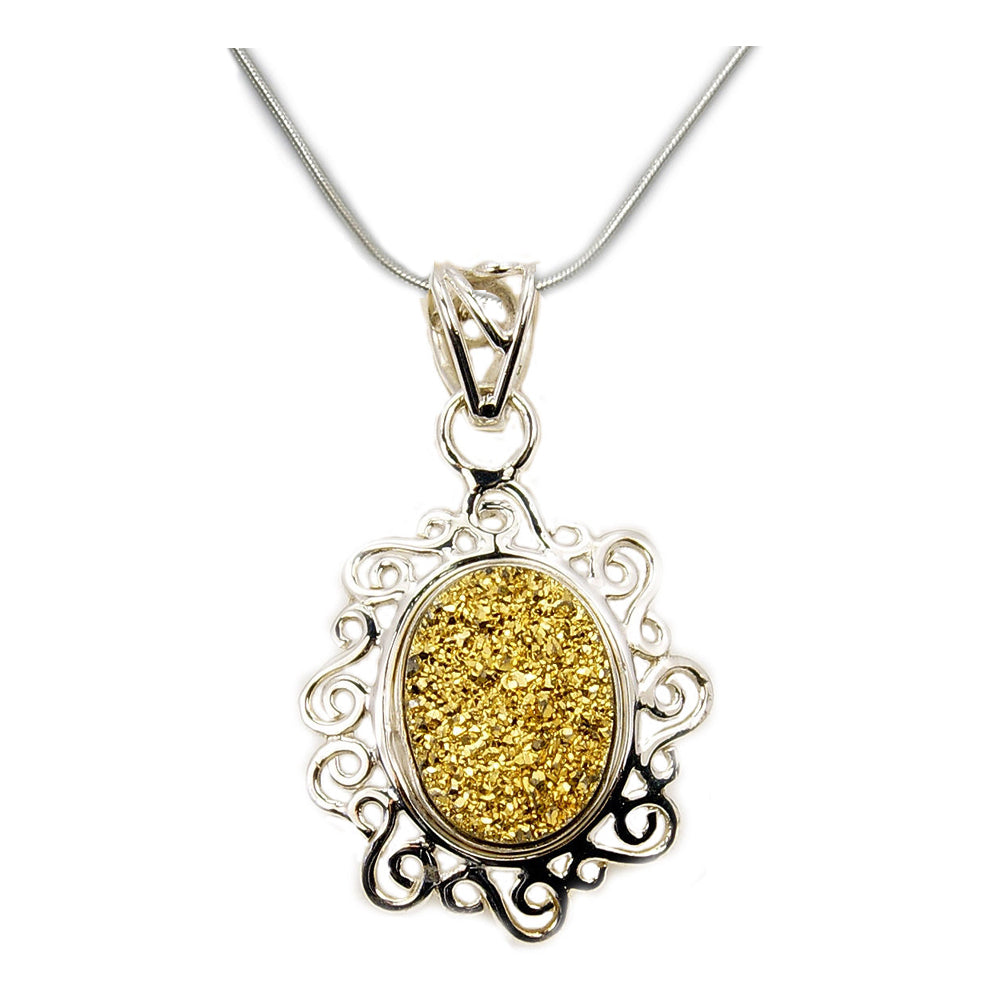 'Forever Sunshine' Sterling Silver Golden Druzy Necklace - The Silver Plaza