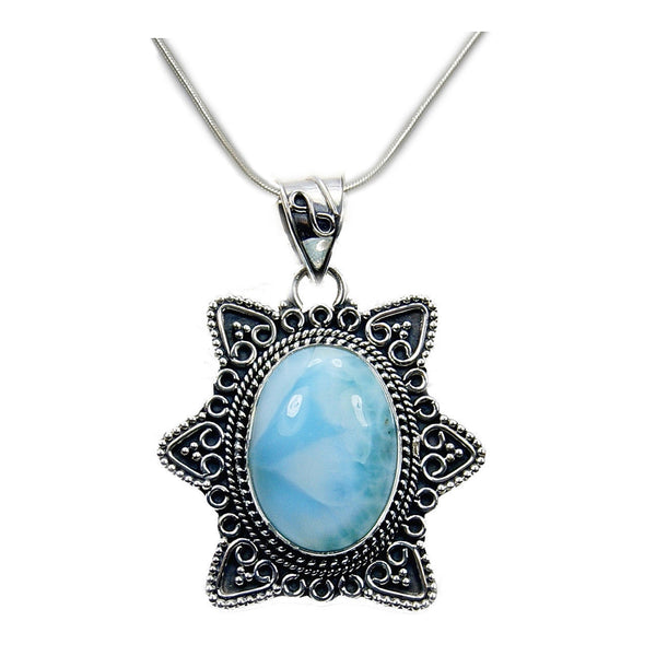 Antiqued Silver Larimar & .925 Sterling Silver Necklace