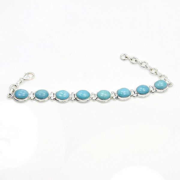 'Tranquil Sky' Dominican Larimar & 925 Sterling Silver Bracelet - The Silver Plaza