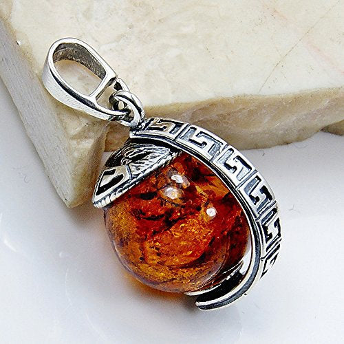 Sterling Silver Natural Baltic Amber Globe Pendant