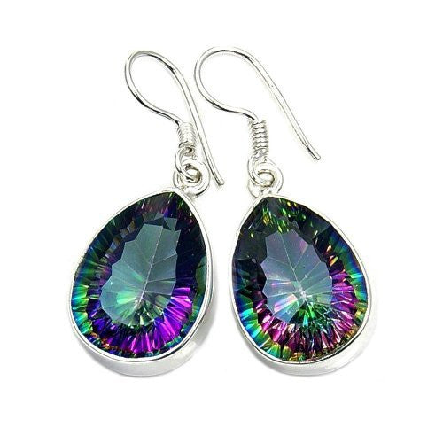 Dancing Lights Mystic Topaz & 925 Sterling Silver Dangle Earrings - The Silver Plaza