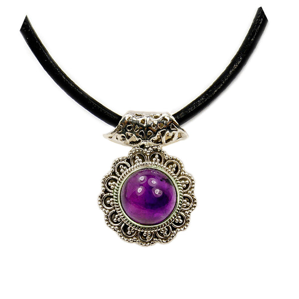 'Purple Medallion' Amethyst Sterling Silver Pendant & Leather Cord Necklace - The Silver Plaza